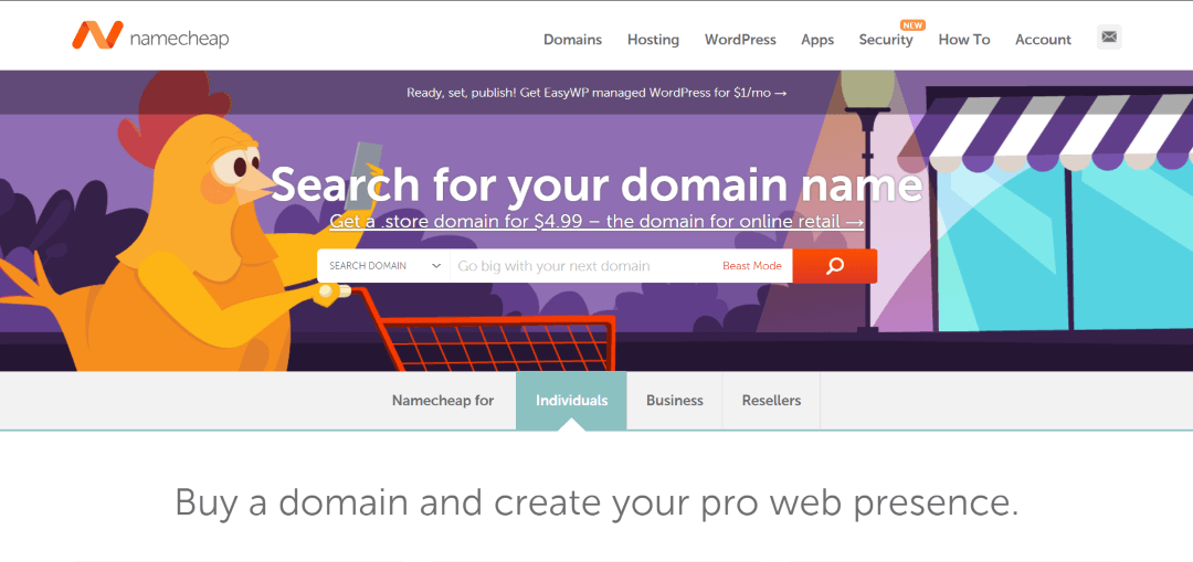 search for the domain name